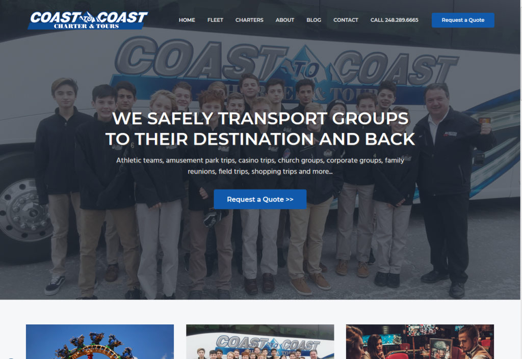 Coast to Coast Charter & Tours Launches Website